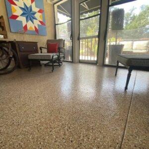 Sunroom with epoxy floor coating