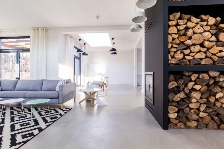Polished Concrete Living Room Floor